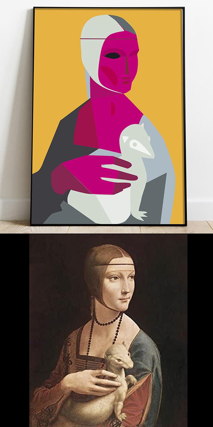 """Retrato ilustrado """"La Dama del Armiño"""""""